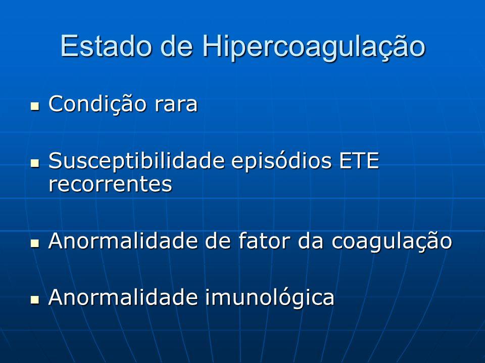 Estado de Hipercoagulação Condição rara Susceptibilidade episódios ETE recorrentes Anormalidade de fator da coagulação Anormalidade imunológica