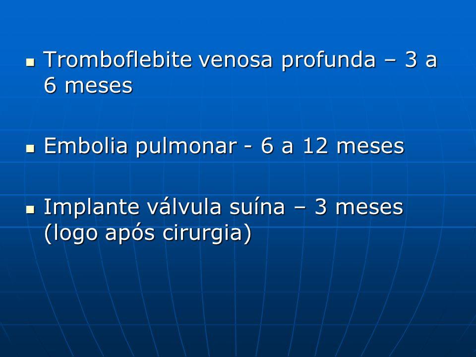Tromboflebite venosa profunda – 3 a 6 meses Tromboflebite venosa profunda – 3 a 6 meses Embolia pulmonar - 6 a 12 meses Embolia pulmonar - 6 a 12 mese