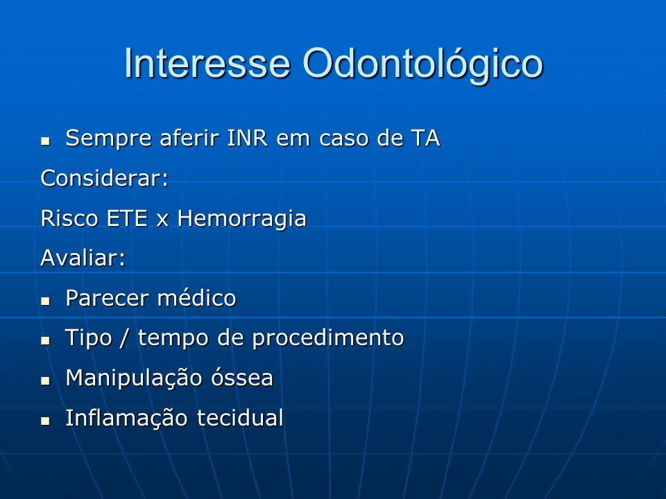 Interesse Odontológico Sempre aferir INR em caso de TA Sempre aferir INR em caso de TAConsiderar: Risco ETE x Hemorragia Avaliar: Parecer médico Parec