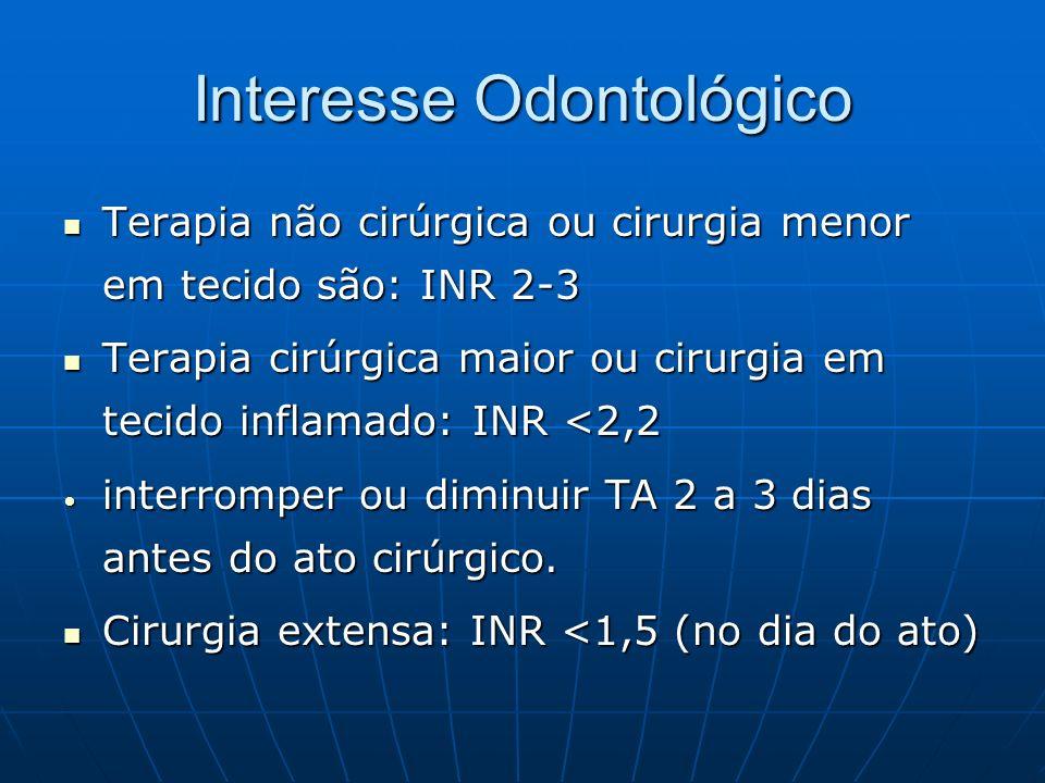 Interesse Odontológico Terapia não cirúrgica ou cirurgia menor em tecido são: INR 2-3 Terapia não cirúrgica ou cirurgia menor em tecido são: INR 2-3 T