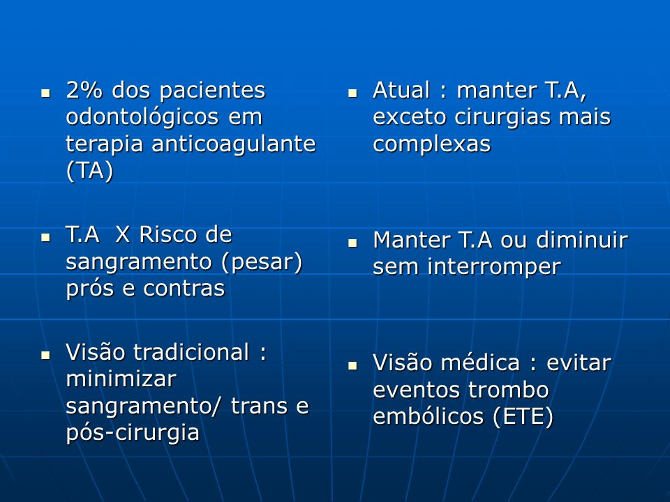 Doenças com ETE Estado de hipercoagulação ou alteração anatômica do vaso (arterial ou venoso).