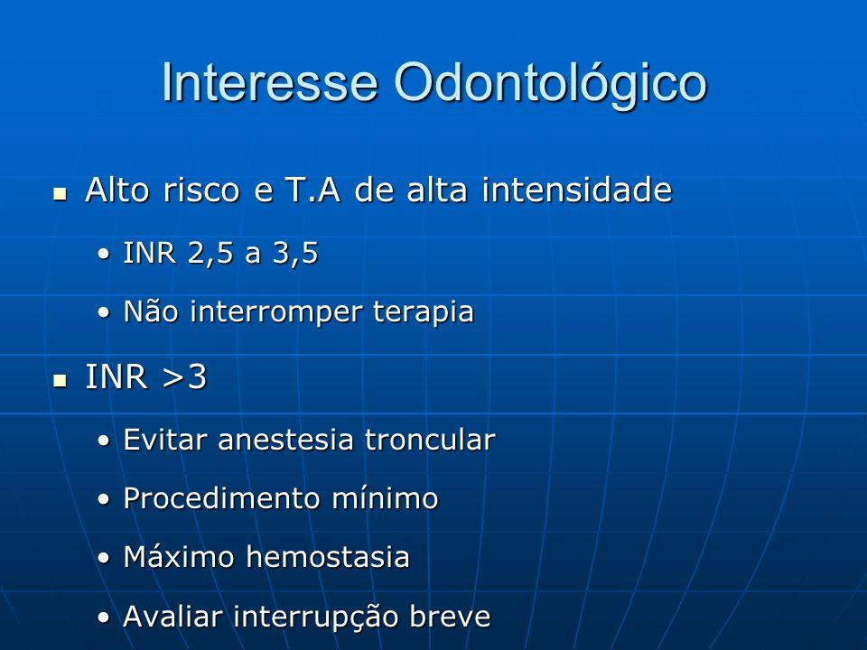 Interesse Odontológico Alto risco e T.A de alta intensidade Alto risco e T.A de alta intensidade INR 2,5 a 3,5INR 2,5 a 3,5 Não interromper terapiaNão