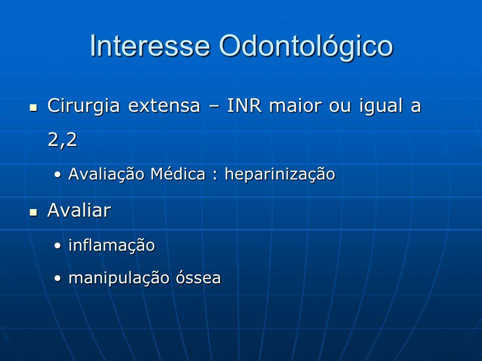 Interesse Odontológico Cirurgia extensa – INR maior ou igual a 2,2 Cirurgia extensa – INR maior ou igual a 2,2 Avaliação Médica : heparinizaçãoAvaliaç