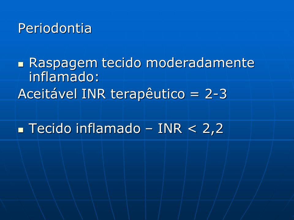 Periodontia Raspagem tecido moderadamente inflamado: Raspagem tecido moderadamente inflamado: Aceitável INR terapêutico = 2-3 Tecido inflamado – INR <