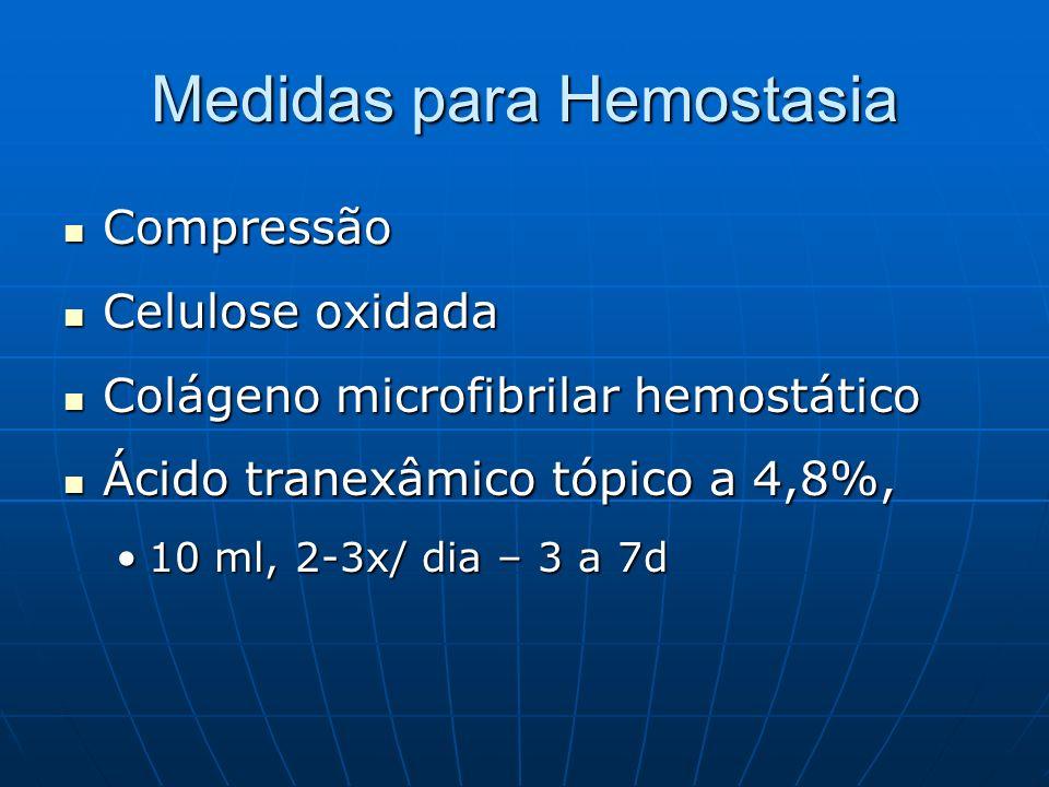 Medidas para Hemostasia Compressão Compressão Celulose oxidada Celulose oxidada Colágeno microfibrilar hemostático Colágeno microfibrilar hemostático