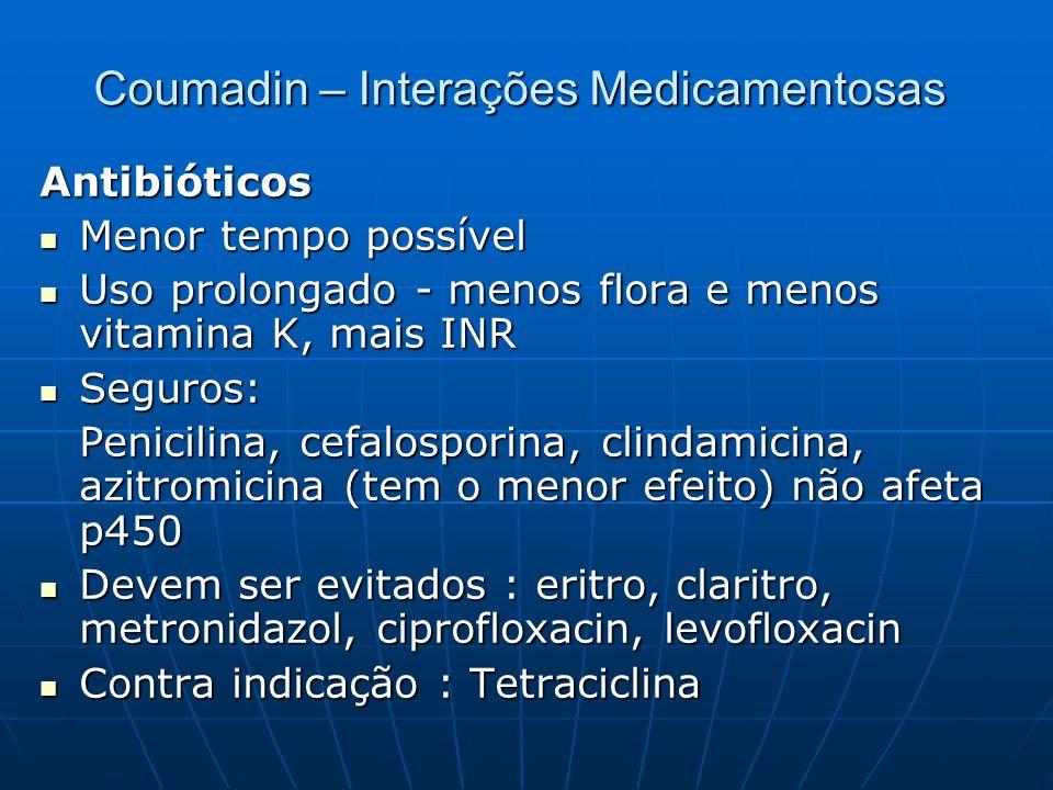 Coumadin – Interações Medicamentosas Antibióticos Menor tempo possível Menor tempo possível Uso prolongado - menos flora e menos vitamina K, mais INR
