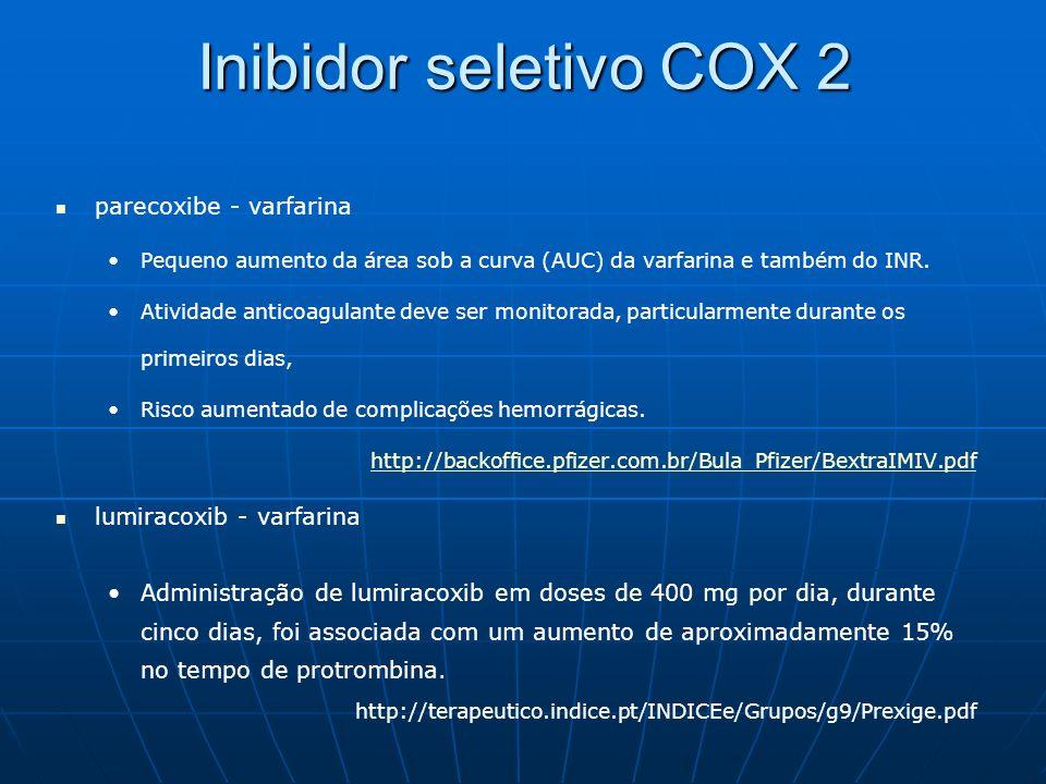 Inibidor seletivo COX 2 parecoxibe - varfarina Pequeno aumento da área sob a curva (AUC) da varfarina e também do INR. Atividade anticoagulante deve s