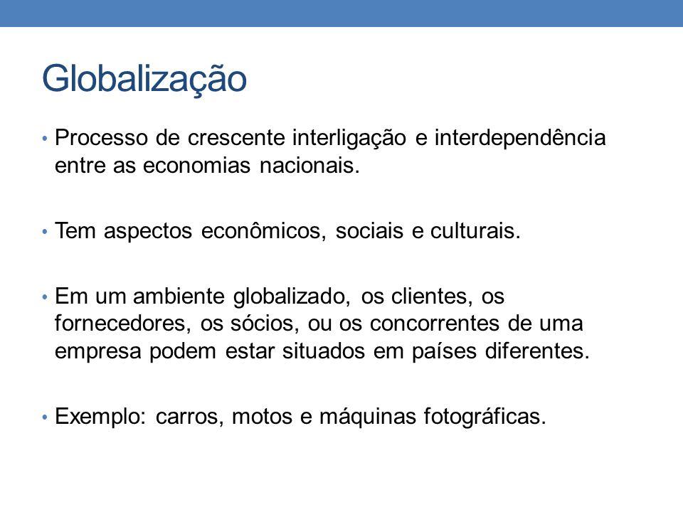 Globalização Processo de crescente interligação e interdependência entre as economias nacionais. Tem aspectos econômicos, sociais e culturais. Em um a