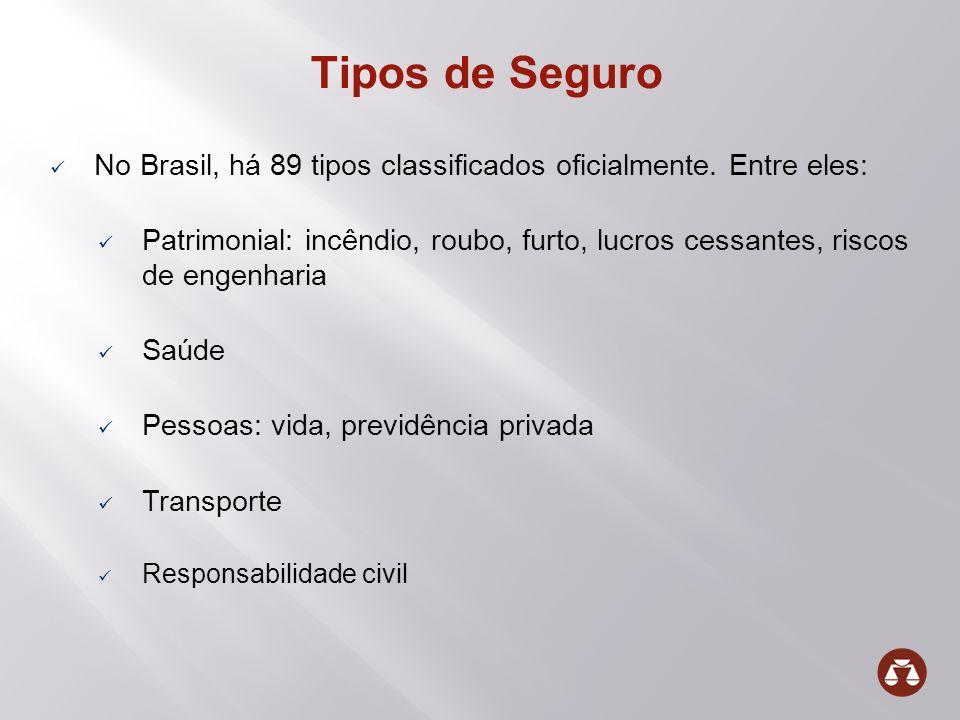 Tipos de Seguro No Brasil, há 89 tipos classificados oficialmente. Entre eles: Patrimonial: incêndio, roubo, furto, lucros cessantes, riscos de engenh