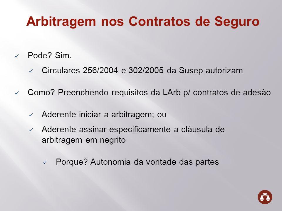 Arbitragem nos Contratos de Seguro Pode? Sim. Circulares 256/2004 e 302/2005 da Susep autorizam Como? Preenchendo requisitos da LArb p/ contratos de a