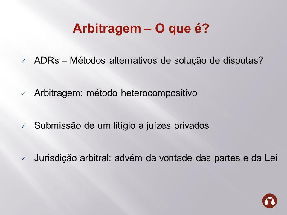 Arbitragem – O que é? ADRs – Métodos alternativos de solução de disputas? Arbitragem: método heterocompositivo Submissão de um litígio a juízes privad