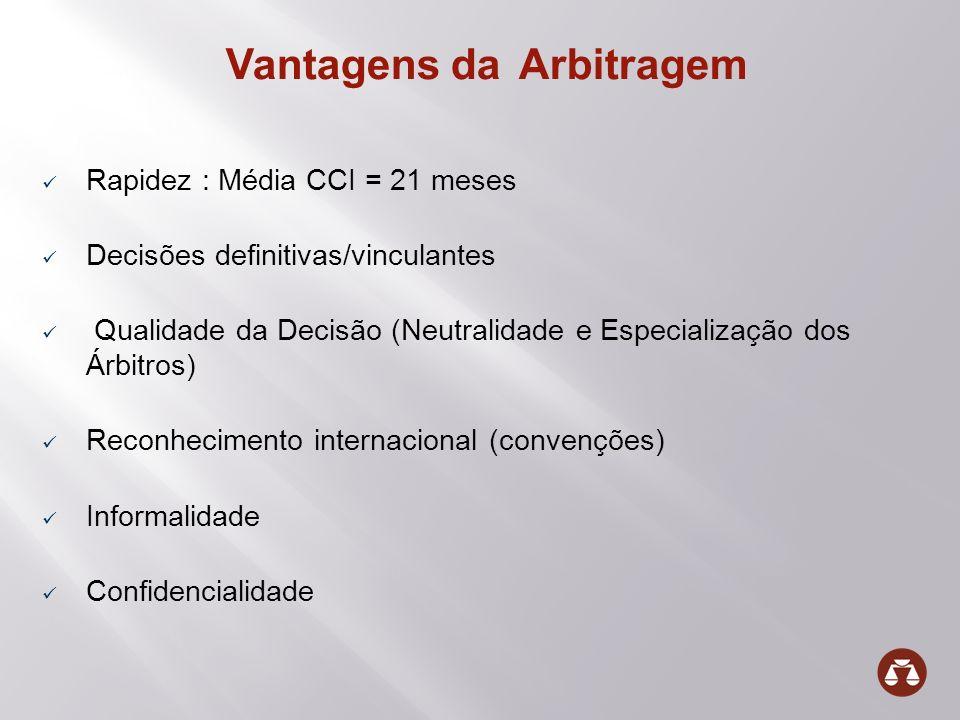 Vantagens da Arbitragem Rapidez : Média CCI = 21 meses Decisões definitivas/vinculantes Qualidade da Decisão (Neutralidade e Especialização dos Árbitr