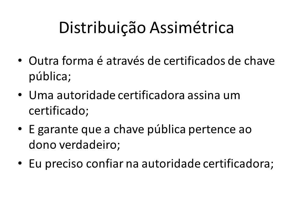 Distribuição Assimétrica Outra forma é através de certificados de chave pública; Uma autoridade certificadora assina um certificado; E garante que a chave pública pertence ao dono verdadeiro; Eu preciso confiar na autoridade certificadora;