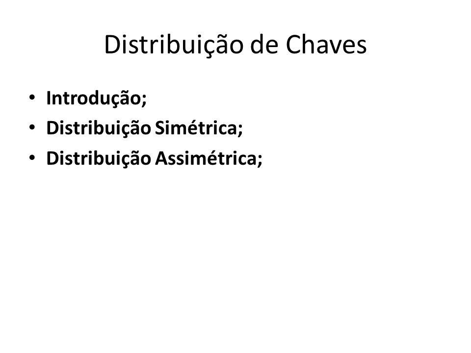 Distribuição de Chaves Introdução; Distribuição Simétrica; Distribuição Assimétrica;