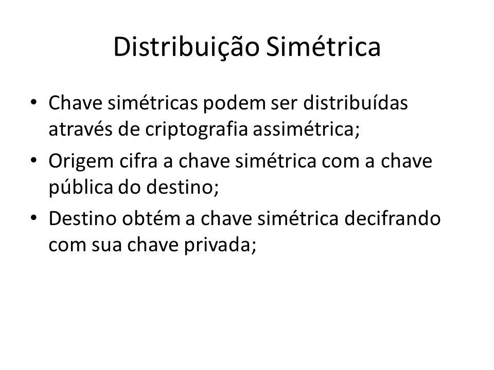 Distribuição Simétrica Chave simétricas podem ser distribuídas através de criptografia assimétrica; Origem cifra a chave simétrica com a chave pública do destino; Destino obtém a chave simétrica decifrando com sua chave privada;