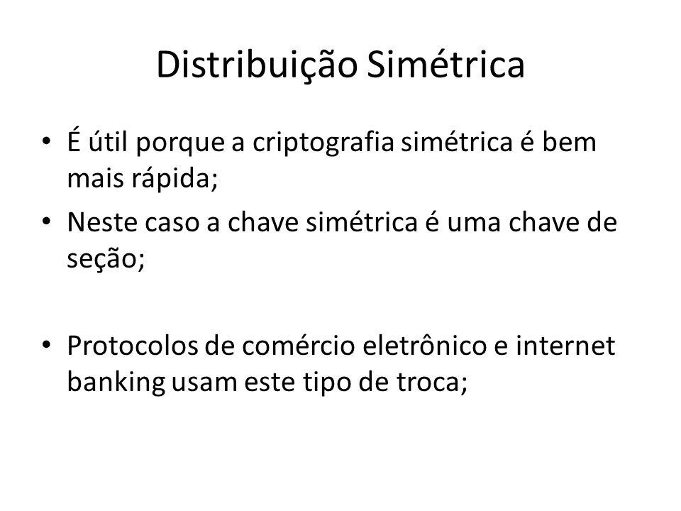 Distribuição Simétrica É útil porque a criptografia simétrica é bem mais rápida; Neste caso a chave simétrica é uma chave de seção; Protocolos de comércio eletrônico e internet banking usam este tipo de troca;