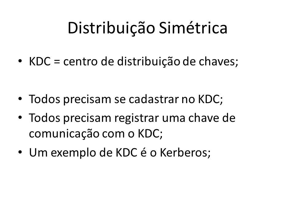 Distribuição Simétrica KDC = centro de distribuição de chaves; Todos precisam se cadastrar no KDC; Todos precisam registrar uma chave de comunicação com o KDC; Um exemplo de KDC é o Kerberos;