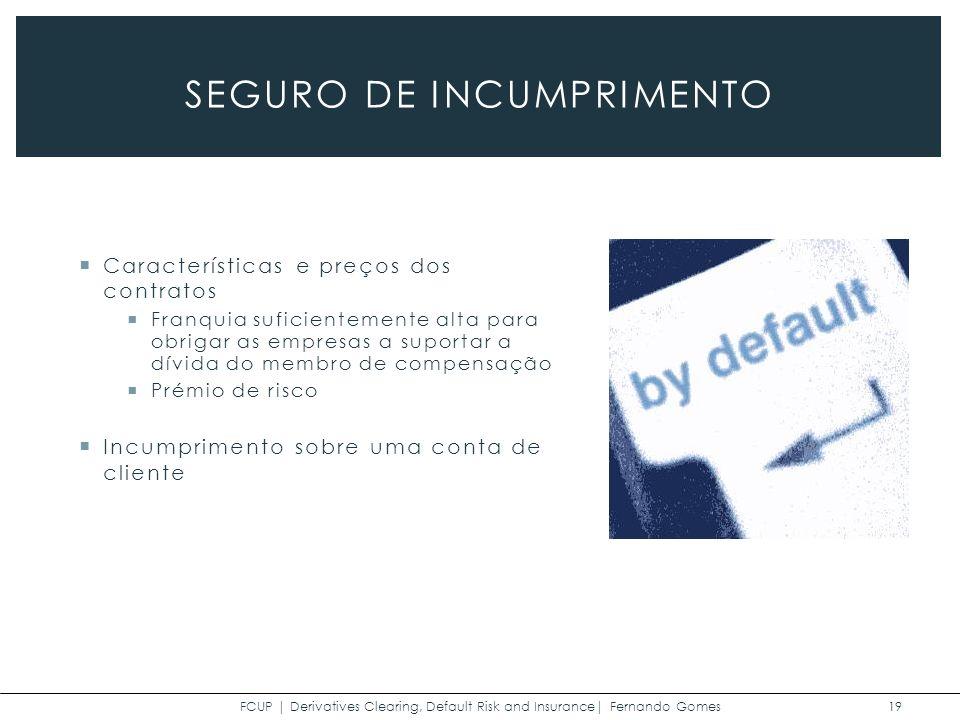 FCUP | Derivatives Clearing, Default Risk and Insurance| Fernando Gomes 19 SEGURO DE INCUMPRIMENTO Características e preços dos contratos Franquia suficientemente alta para obrigar as empresas a suportar a dívida do membro de compensação Prémio de risco Incumprimento sobre uma conta de cliente