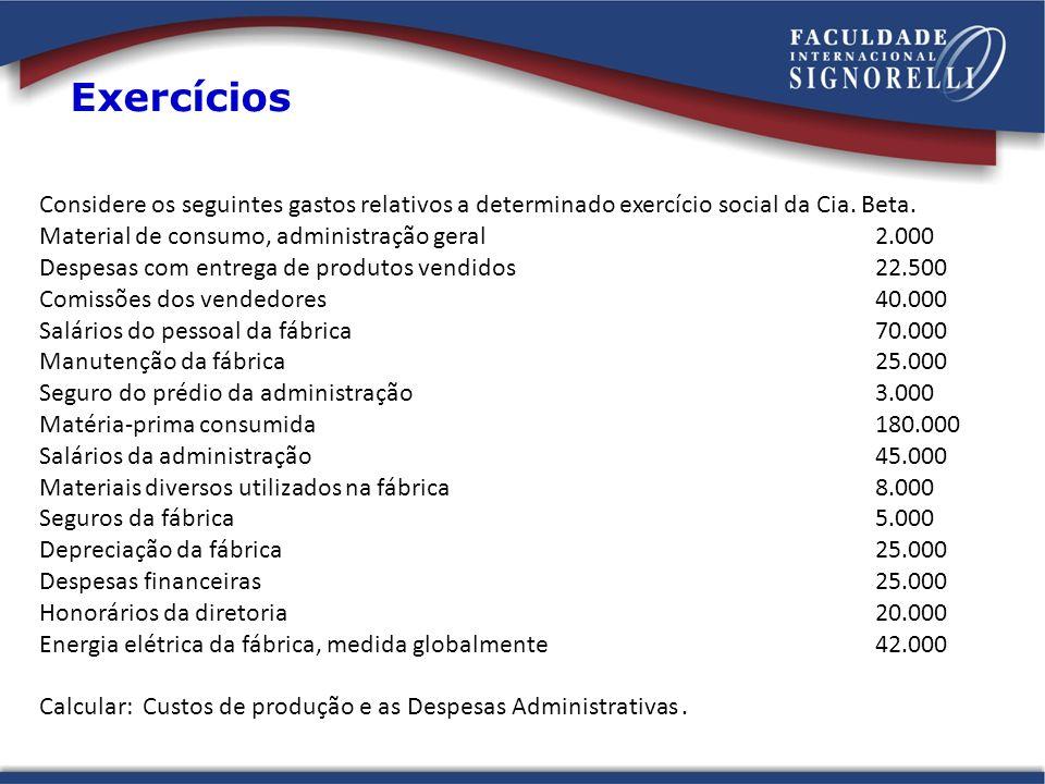 Considere os seguintes gastos relativos a determinado exercício social da Cia. Beta. Material de consumo, administração geral 2.000 Despesas com entre