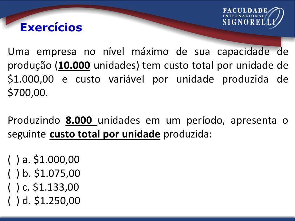 Uma empresa no nível máximo de sua capacidade de produção (10.000 unidades) tem custo total por unidade de $1.000,00 e custo variável por unidade prod
