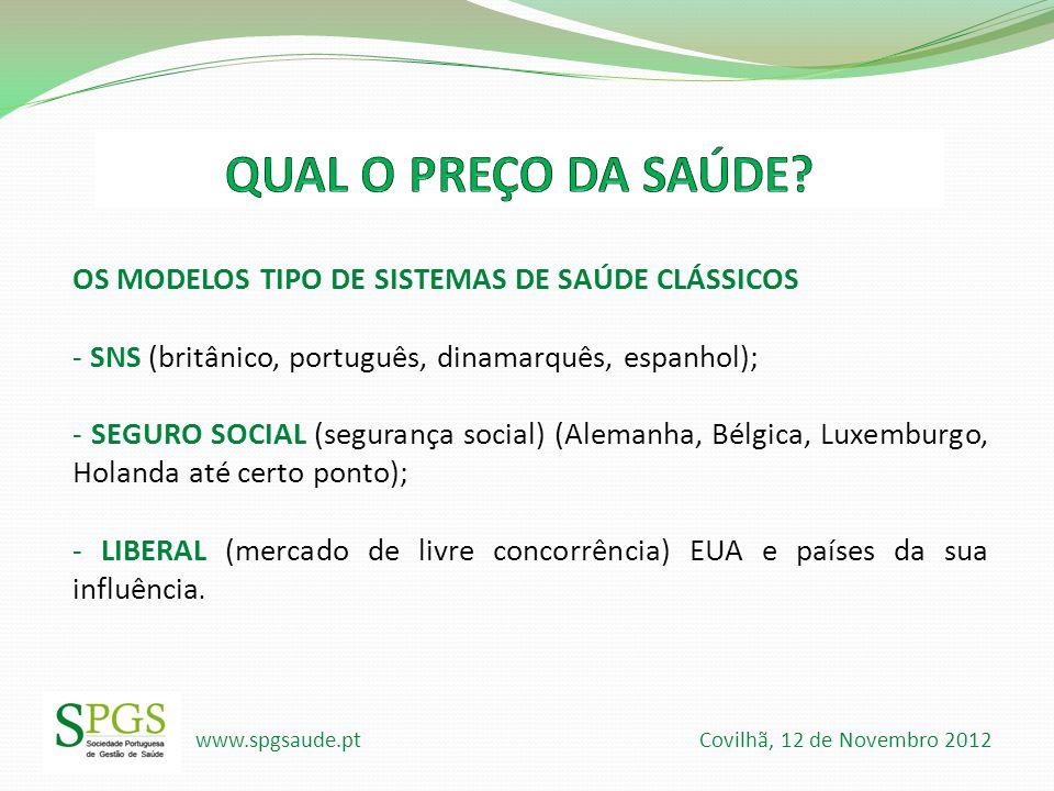 www.spgsaude.pt Covilhã, 12 de Novembro 2012 OS MODELOS TIPO DE SISTEMAS DE SAÚDE CLÁSSICOS - SNS (britânico, português, dinamarquês, espanhol); - SEG