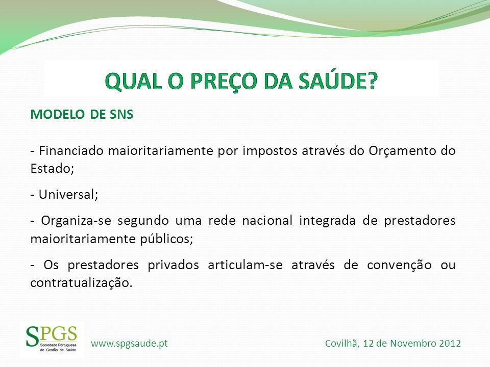www.spgsaude.pt Covilhã, 12 de Novembro 2012 MODELO DE SNS - Financiado maioritariamente por impostos através do Orçamento do Estado; - Universal; - O