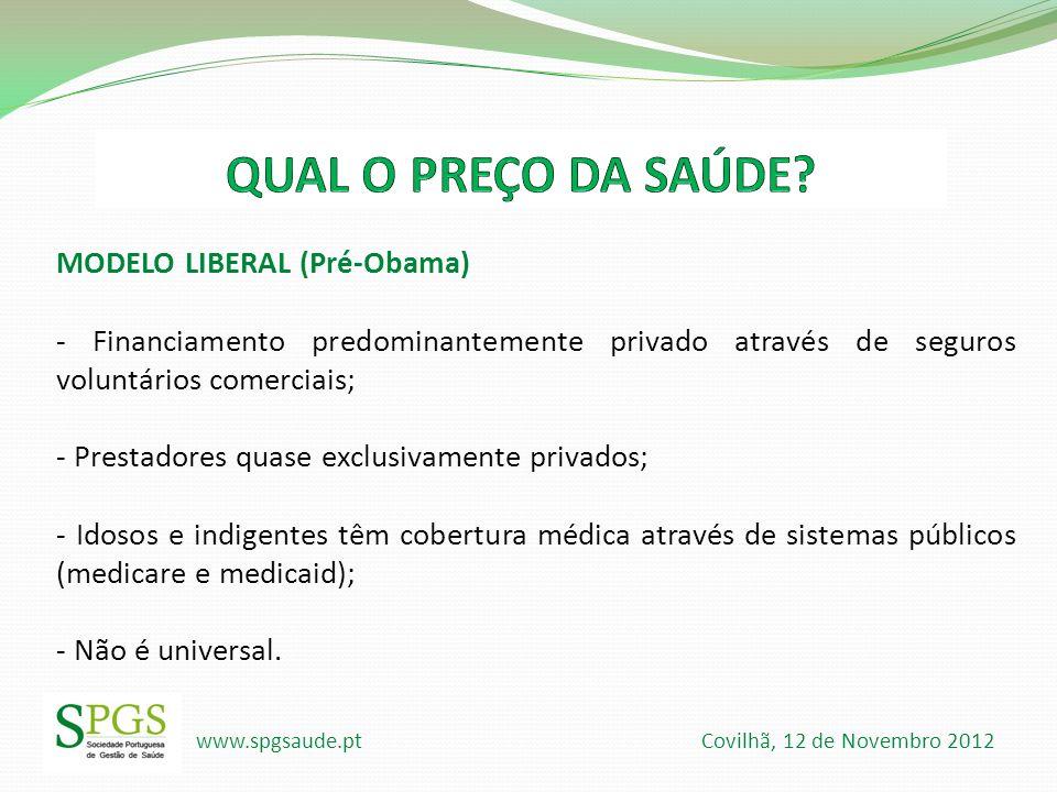 www.spgsaude.pt Covilhã, 12 de Novembro 2012 MODELO LIBERAL (Pré-Obama) - Financiamento predominantemente privado através de seguros voluntários comer