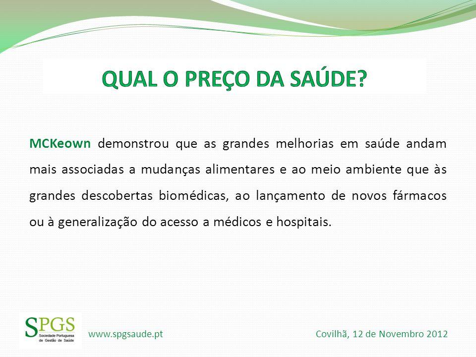 www.spgsaude.pt Covilhã, 12 de Novembro 2012 MCKeown demonstrou que as grandes melhorias em saúde andam mais associadas a mudanças alimentares e ao me