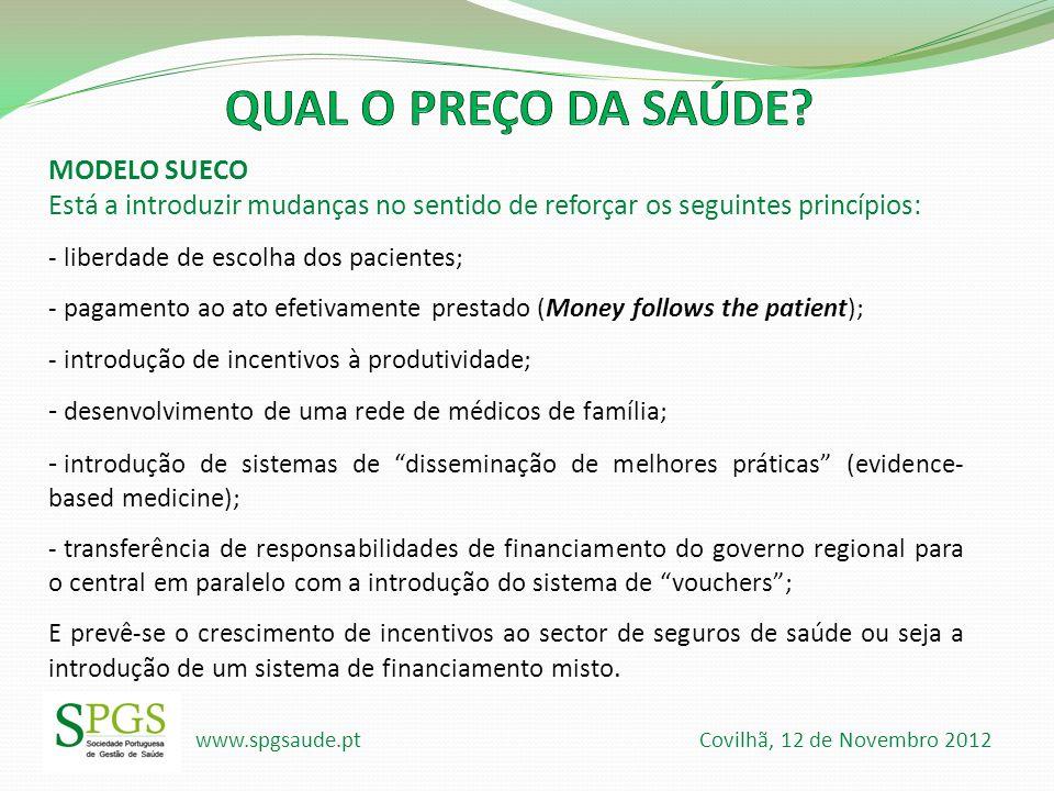 www.spgsaude.pt Covilhã, 12 de Novembro 2012 MODELO SUECO Está a introduzir mudanças no sentido de reforçar os seguintes princípios: - liberdade de es