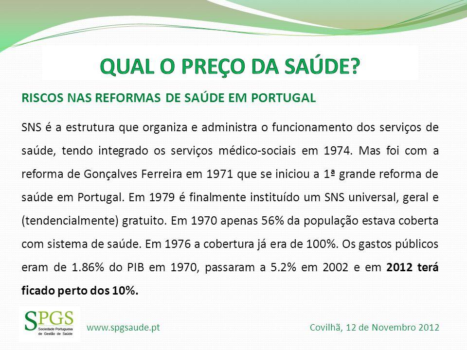 www.spgsaude.pt Covilhã, 12 de Novembro 2012 RISCOS NAS REFORMAS DE SAÚDE EM PORTUGAL SNS é a estrutura que organiza e administra o funcionamento dos
