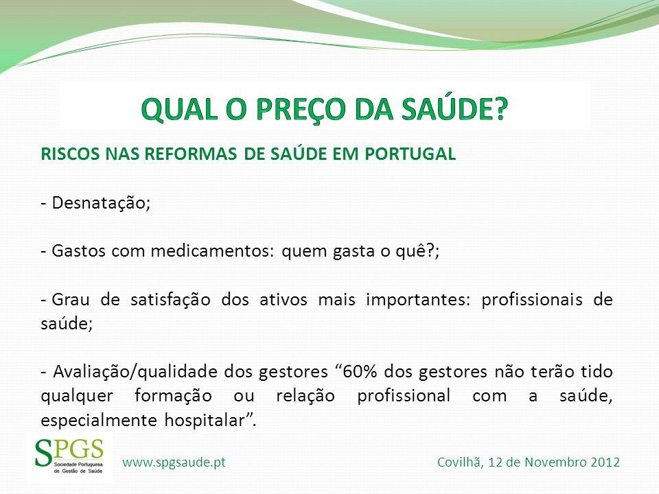www.spgsaude.pt Covilhã, 12 de Novembro 2012 RISCOS NAS REFORMAS DE SAÚDE EM PORTUGAL - Desnatação; - Gastos com medicamentos: quem gasta o quê?; - Gr