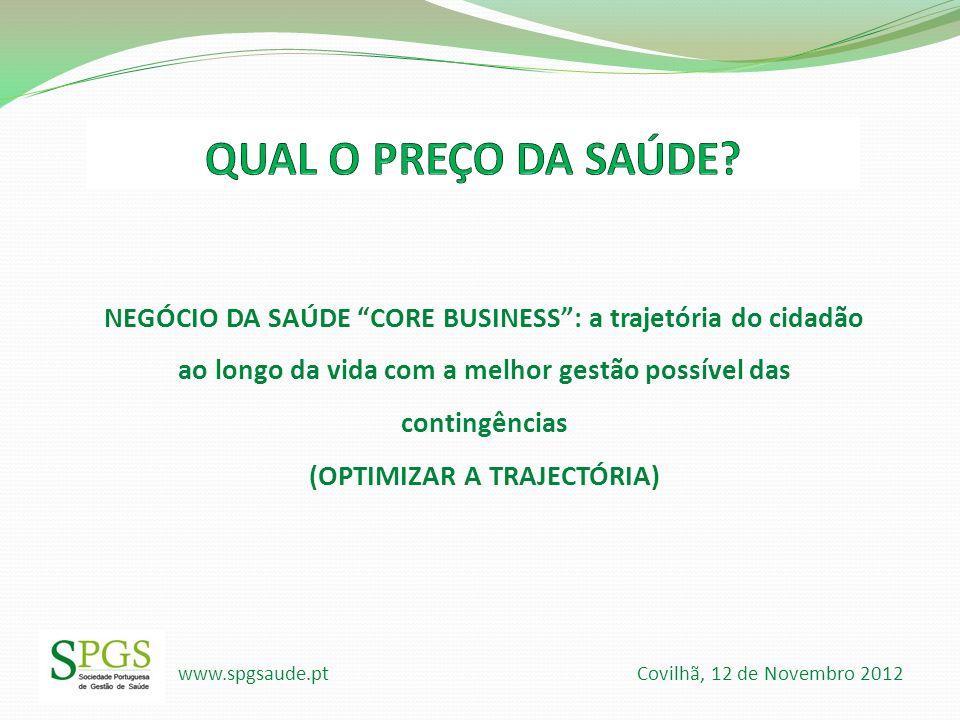 www.spgsaude.pt Covilhã, 12 de Novembro 2012 NEGÓCIO DA SAÚDE CORE BUSINESS: a trajetória do cidadão ao longo da vida com a melhor gestão possível das