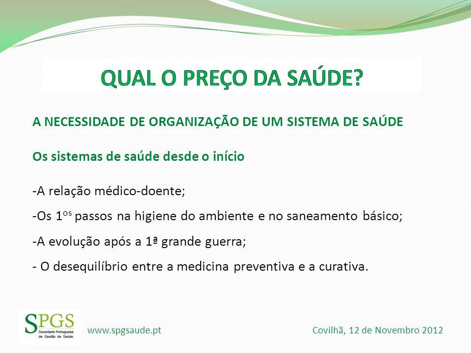www.spgsaude.pt Covilhã, 12 de Novembro 2012 A NECESSIDADE DE ORGANIZAÇÃO DE UM SISTEMA DE SAÚDE Os sistemas de saúde desde o início -A relação médico