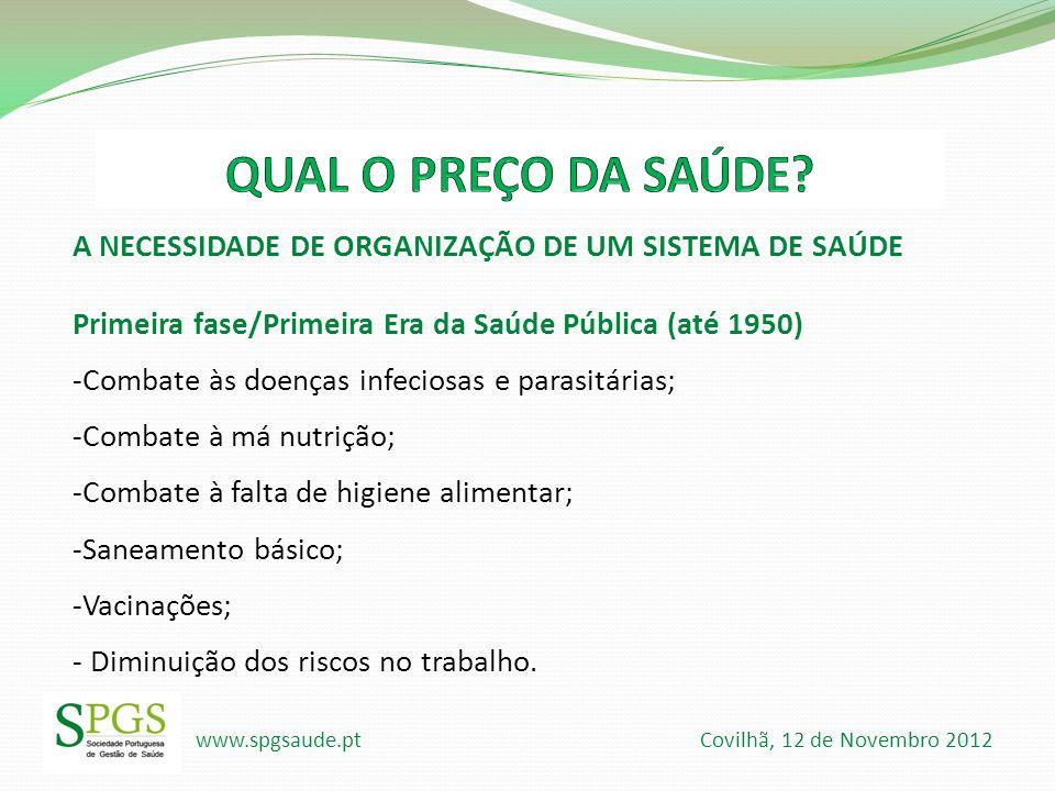 www.spgsaude.pt Covilhã, 12 de Novembro 2012 A NECESSIDADE DE ORGANIZAÇÃO DE UM SISTEMA DE SAÚDE Primeira fase/Primeira Era da Saúde Pública (até 1950