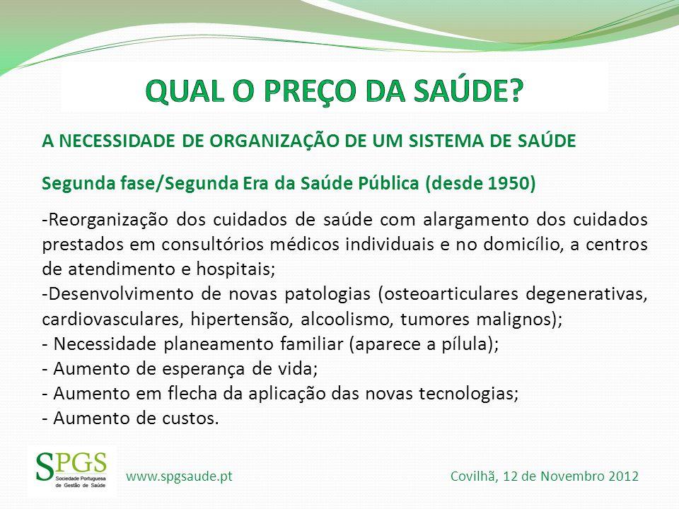 www.spgsaude.pt Covilhã, 12 de Novembro 2012 A NECESSIDADE DE ORGANIZAÇÃO DE UM SISTEMA DE SAÚDE Segunda fase/Segunda Era da Saúde Pública (desde 1950