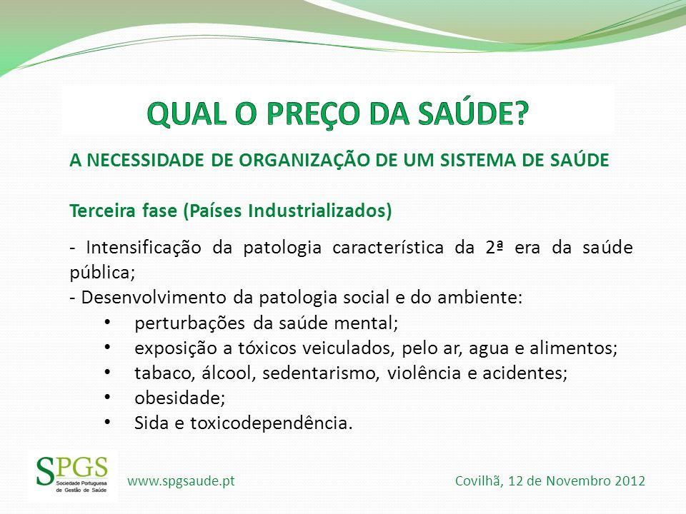 www.spgsaude.pt Covilhã, 12 de Novembro 2012 A NECESSIDADE DE ORGANIZAÇÃO DE UM SISTEMA DE SAÚDE Terceira fase (Países Industrializados) - Intensifica