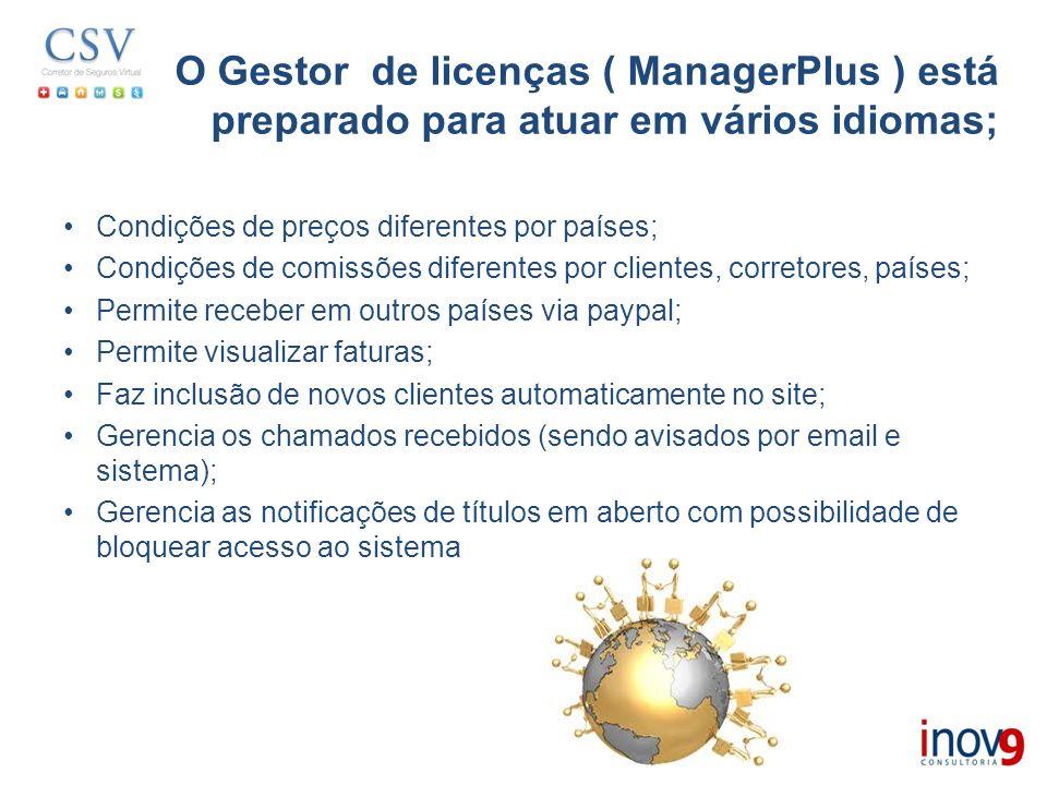 O Gestor de licenças ( ManagerPlus ) está preparado para atuar em vários idiomas; Condições de preços diferentes por países; Condições de comissões di