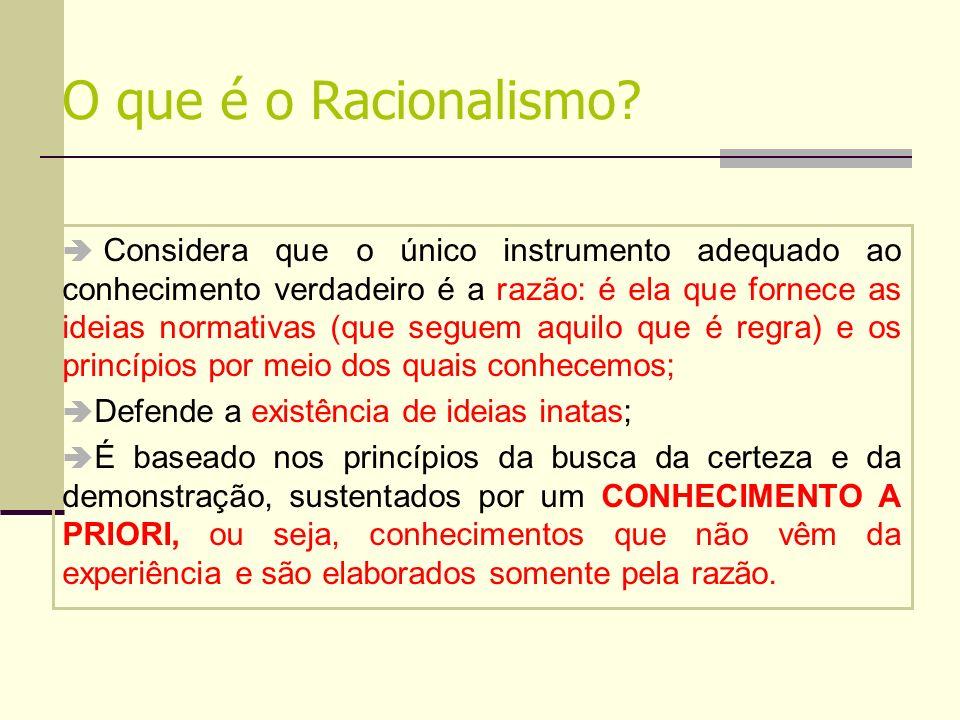 O que é o Racionalismo? Considera que o único instrumento adequado ao conhecimento verdadeiro é a razão: é ela que fornece as ideias normativas (que s