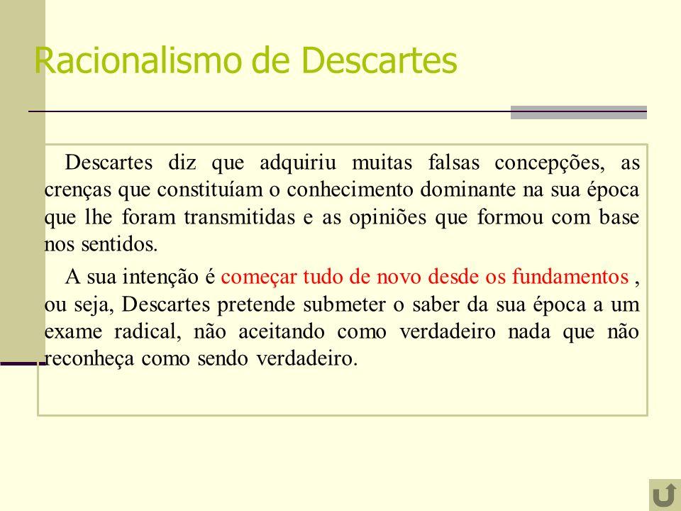 Racionalismo de Descartes Descartes diz que adquiriu muitas falsas concepções, as crenças que constituíam o conhecimento dominante na sua época que lhe foram transmitidas e as opiniões que formou com base nos sentidos.