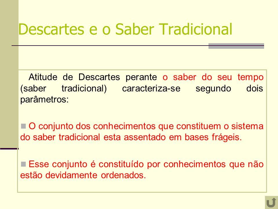 Descartes e o Saber Tradicional Atitude de Descartes perante o saber do seu tempo (saber tradicional) caracteriza-se segundo dois parâmetros: O conjun