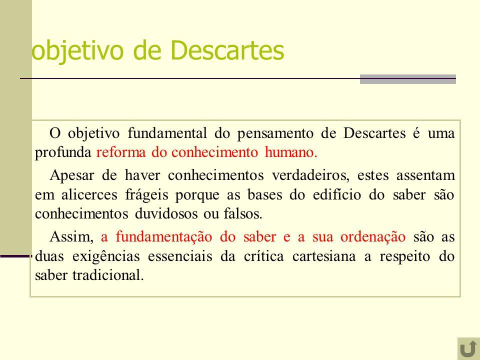 objetivo de Descartes O objetivo fundamental do pensamento de Descartes é uma profunda reforma do conhecimento humano. Apesar de haver conhecimentos v