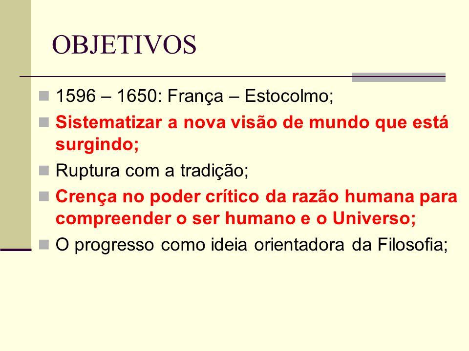 OBJETIVOS 1596 – 1650: França – Estocolmo; Sistematizar a nova visão de mundo que está surgindo; Ruptura com a tradição; Crença no poder crítico da razão humana para compreender o ser humano e o Universo; O progresso como ideia orientadora da Filosofia;