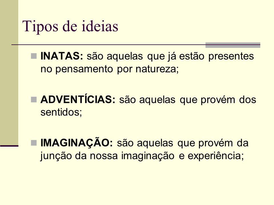 Tipos de ideias INATAS: são aquelas que já estão presentes no pensamento por natureza; ADVENTÍCIAS: são aquelas que provém dos sentidos; IMAGINAÇÃO: são aquelas que provém da junção da nossa imaginação e experiência;
