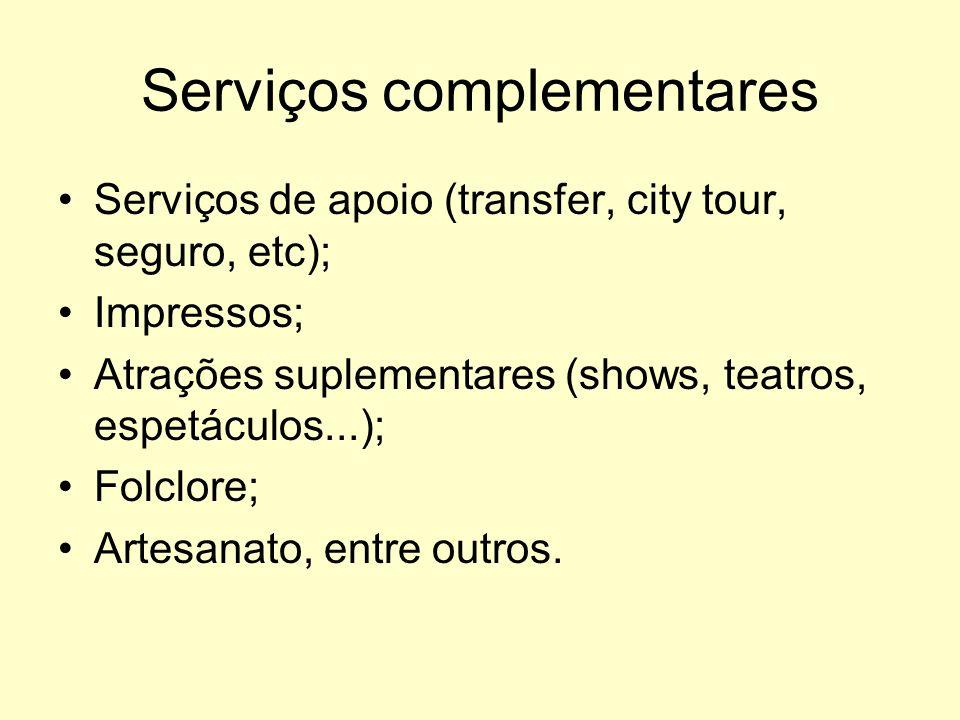 Serviços complementares Serviços de apoio (transfer, city tour, seguro, etc); Impressos; Atrações suplementares (shows, teatros, espetáculos...); Folc