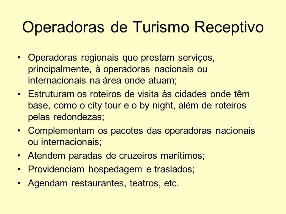 Operadoras de Turismo Receptivo Operadoras regionais que prestam serviços, principalmente, à operadoras nacionais ou internacionais na área onde atuam