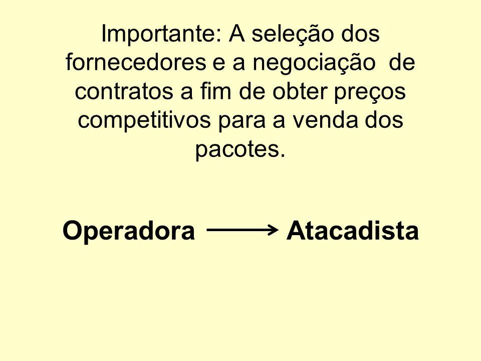 Importante: A seleção dos fornecedores e a negociação de contratos a fim de obter preços competitivos para a venda dos pacotes. Operadora Atacadista