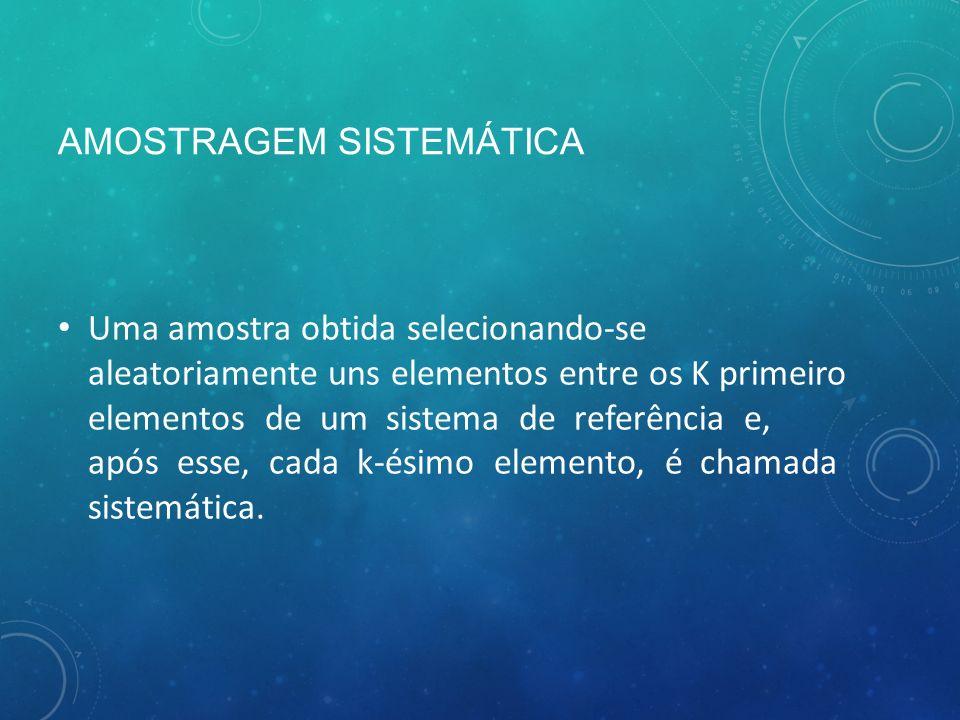 AMOSTRAGEM SISTEMÁTICA Uma amostra obtida selecionando-se aleatoriamente uns elementos entre os K primeiro elementos de um sistema de referência e, após esse, cada k-ésimo elemento, é chamada sistemática.