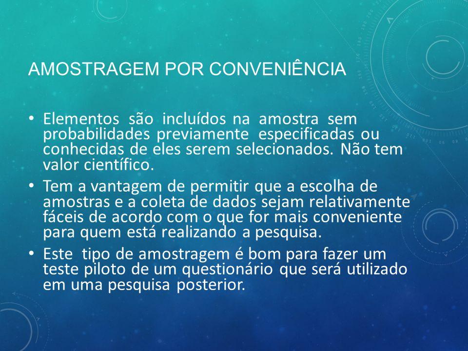 AMOSTRAGEM POR CONVENIÊNCIA Elementos são incluídos na amostra sem probabilidades previamente especificadas ou conhecidas de eles serem selecionados.