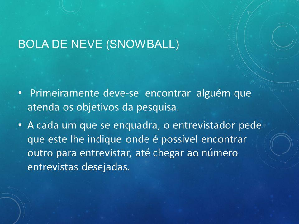 BOLA DE NEVE (SNOWBALL) Primeiramente deve-se encontrar alguém que atenda os objetivos da pesquisa.