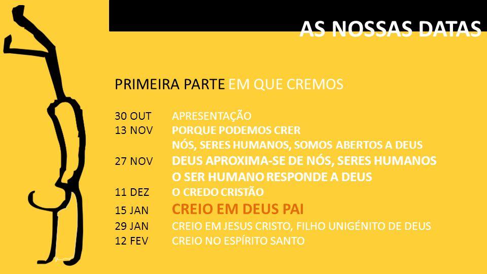 PRIMEIRA PARTE EM QUE CREMOS 30 OUTAPRESENTAÇÃO 13 NOVPORQUE PODEMOS CRER NÓS, SERES HUMANOS, SOMOS ABERTOS A DEUS 27 NOV DEUS APROXIMA-SE DE NÓS, SERES HUMANOS O SER HUMANO RESPONDE A DEUS 11 DEZO CREDO CRISTÃO 15 JAN CREIO EM DEUS PAI 29 JANCREIO EM JESUS CRISTO, FILHO UNIGÉNITO DE DEUS 12 FEVCREIO NO ESPÍRITO SANTO AS NOSSAS DATAS